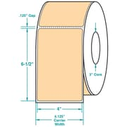 4 x 6-1/2 Perfed Orange Permanent Adhesive Thermal Transfer Roll Zebra Compatible Label/Ribbon Kit