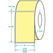 4 x 6-1/2 Perfed Yellow Permanent Adhesive Thermal Transfer Roll Zebra Compatible Label/Ribbon Kit