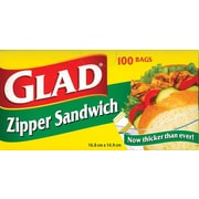 Glad Zipper Sandwich Bags, 100 Bags/Pack (12623WAVE)