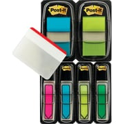 "Post-it® Assorted Bright 1"" and 1/2"" Flag Bonus Pack w/Free Durable Tabs, 196 Flags, Each"