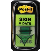 "Post-it® 'Sign and Date' Message Flags, 1"" Wide, Green, 100 Flags/Pack (680-SD2)"