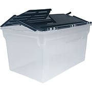 Staples Durable File Box with Winged Lid, Legal/Letter Size, Clear (139600/139883)