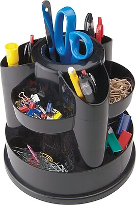 Staples 10604-CC 10 Compartment Rotating Desk Organizer, Black