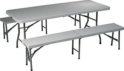 Office Star 3 Piece Folding Resin Table Set, Light Gray 709362