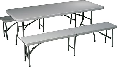 Office Star 3 Piece Folding Resin Table Set, Light Gray