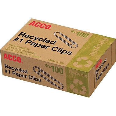 Acco® 100% Recycled Paper Clips, Smooth, 1,000/Pack