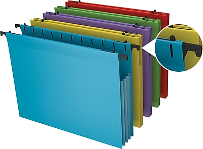 Staples Poly Expanding Hanging File Jackets, Letter, Assorted, 5/Pack