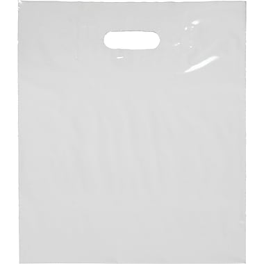 Die-Cut Handle Bag, Gusseted, White, 20