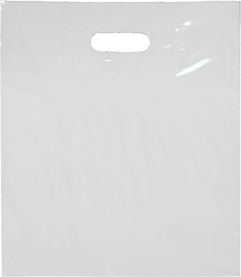Staples White Die-Cut Handle Bags- Bottom Gusseted Bags, 500/Case (#24815189)