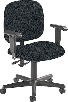 Global Fabric Computer and Desk Office Chair, Adjustable Arms, Graphite (8933BK-S111)
