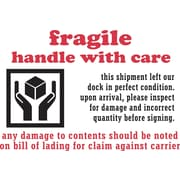 "Staples Fragile Handle With Care Label, 04""H x 6""W 500/Roll (#DL3191)"