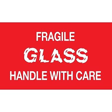Étiquettes de manutention « verre fragile, manipuler avec soin », 5 po x 3 po, 500/rouleau