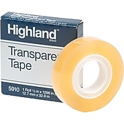 "Highland™ Transparent Tape, 1/2"" x 36 yds., 1/Roll (5910)"