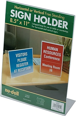 NuDell™ L-Shaped Sign Holder, Clear, 8-1/2