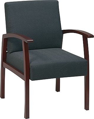 Office Star U0026 Trade, Charcoal Fabric With Cherry Finish Wood Guest Chair