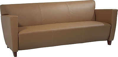 Office Star™ Taupe Leather Sofa