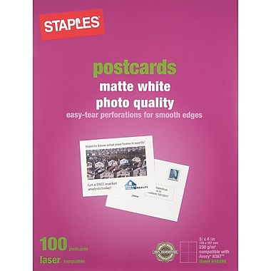 Staples Laser Matte Postcards, White, 100/Pack (14635-CC)