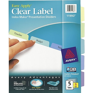 Avery® Index Maker Clear Label Tab Dividers, 5-Tab, Pastel Colors, 5 Sets/Pack