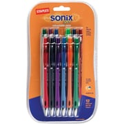Staples Sonix™ Retractable Gel-Ink Pens, Medium Point, Assorted, Dozen (13123-CC)