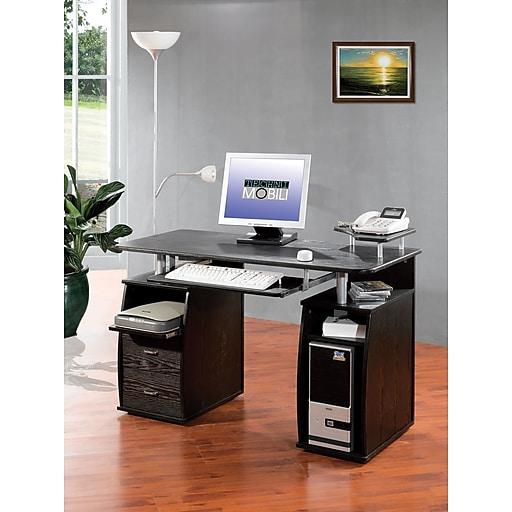 Techni mobili multi function computer desk espresso staples for Mobili computer