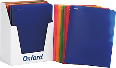 Oxford Translucent Twin-Pocket Poly Portfolios, Assorted Colors, 8 1/2