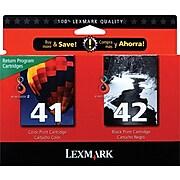 Lexmark 41/42 Black/Tri-Color Standard Yield Ink Cartridge, 2/Pack (18Y0238)