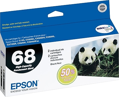 EPSON® 68 High-Capacity Black Ink Cartridge Value Multi-pack (2 cart per pack)