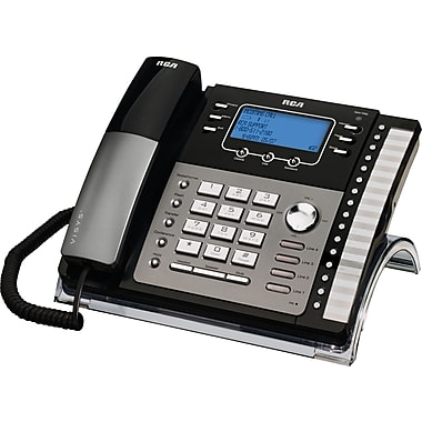 RCA 25424RE1 4-Line Integrated Telephone System with Caller ID, Corded, Black/Silver