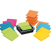 "Post-it® Pop-up Dispenser for 3"" x 3"" Notes, Black, with 12 Post-it® Super Sticky Notes (DS330-SSVA)"