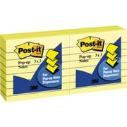 """Post-it® Pop-up Notes, 3"""" x 3"""", Lined, Canary Yellow, 6 Pads/Pack (R335)"""