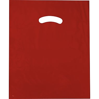 Sac à poignée découpée, à soufflets, rouge, 15 po x 18 po + 4 po BG, 500/paquet