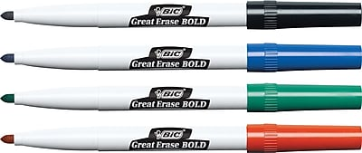 BIC Great Erase Bold Fine Point Dry Erase Markers, Assorted, 4/Pk (DECFP41AD)