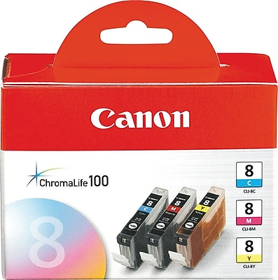Canon CLI-8 C/M/Y Color Ink Cartridges (0621B016), Combo 3/Pack