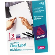 "Avery® Index Maker® Clear Label Unpunched Dividers, 3 Tab, White, 8 1/2"" x 11"", 5 Sets/Pk"