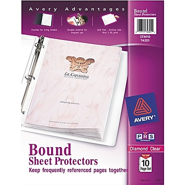 Avery(R) Diamond Clear Bound Sheet Protectors 74301, Acid Free, 10-Page Set