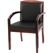 basyx by HON® VL853 Leather Guest Chair, Black SofThread™ Leather/Mahogany (BSXVL853NSP11)
