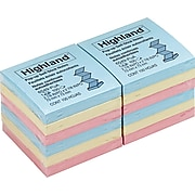 """Highland™ Pop-up Notes, 3"""" x 3"""", Assorted Colors, 12 Pads (6549-PUA)"""