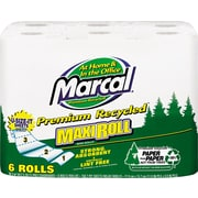 Marcal Perforated MaxiRoll Towels, 11 x 6, White, Recycled, 6 Rolls/Pack, 140 sheets per roll