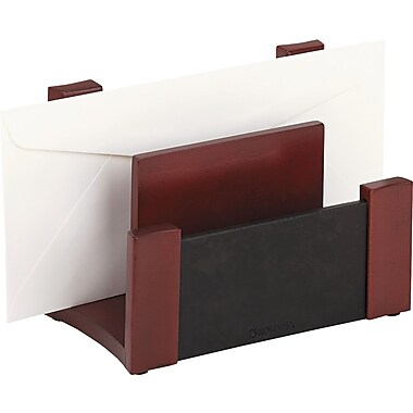 Rolodex Mahogany and Black Leather Desk Sorter