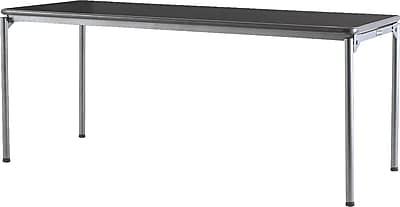 Samsonite 6' Commercial-Grade Resin Folding Banquet Table, Dark Wood Grain