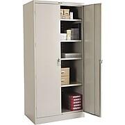 "Tennsco Deluxe Steel Storage Cabinet, 4-Shelf, Light Gray, 78""H x 36""W x 24""D"