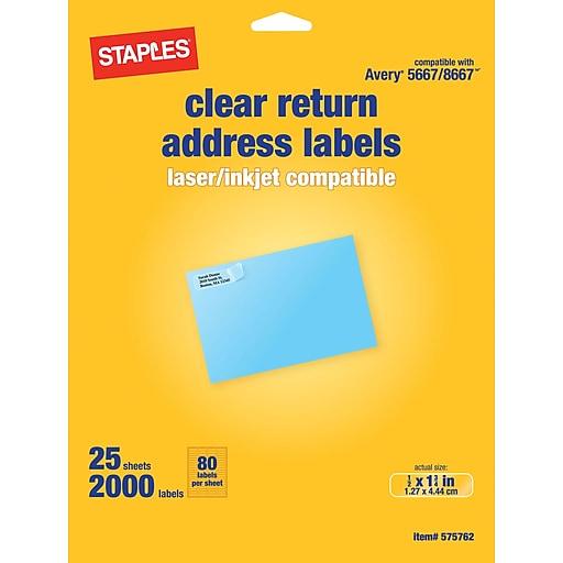 staples clear inkjet laser return address labels 1 2 x 1 3 4