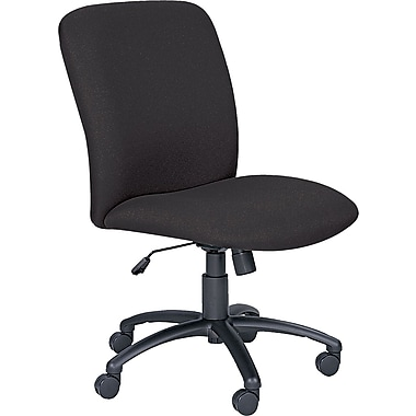 Safco Fabric Computer and Desk Office Chair, Armless, Black (3490BL)