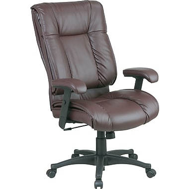 Office Star Leather Managers Office Chair, Burgundy, Adjustable Arm (EX9382-4)