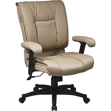 Office Star™ Leather Managers Office Chair, Tan, Adjustable Arm (EX9381-1)