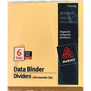"Avery® 9-1/2"" x 11"" Data Binder Insertable Tab Dividers, 6-Tab, 1 Set/Pack"