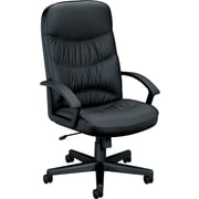 basyx by HON® BSXVL641SB11 VL641 Leather Executive High-Back Chair with Fixed Arms, Black