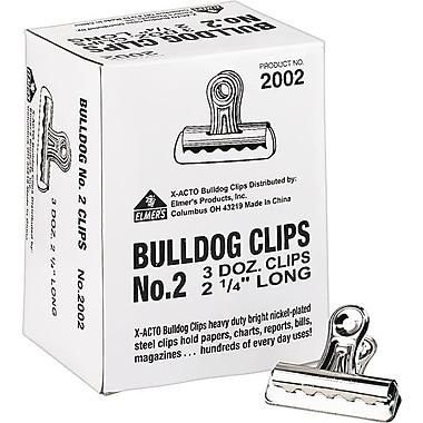 X-ACTO #2 Bulldog Clips, 2.25 Inches, Box of 36
