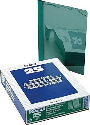 Oxford® Clear Front Report Covers, Dark Green, 8 1/2