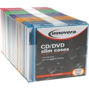 Thin Line Polystyrene CD/DVD Storage Cases, Assorted Colors, 50/Pk